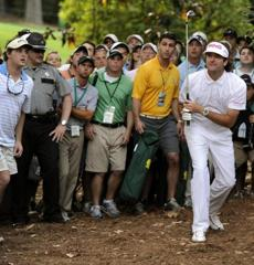 Bubba Watson - and a lot of fans - get a good look at the signature shot of the final round of the Masters.